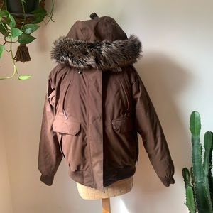 The North Face Puffer Bomber Jacket With Fur Hood
